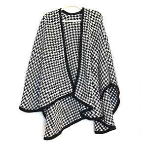 Vintage Houndstooth Shawl Cape Scarf Face Mask